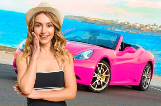 auto color rosa mujer